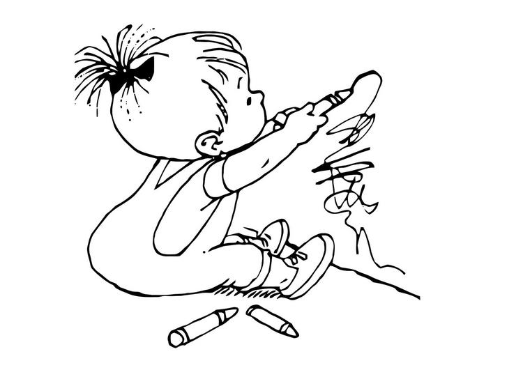 Niño dibujando para colorear - Imagui
